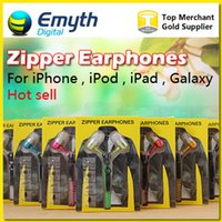 Wholesale Earphone Zipper Headset MM Jack Bass Earbuds In Ear Zip Headphone for Iphone Samsung Phone PC MID Ipod MP3 MP4 Player with package