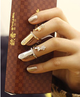 Wholesale NEW Fashion Punk Nails Ring Crystal Flower Finger Tip Gold Knuckled Nails Rings Unisex Rings