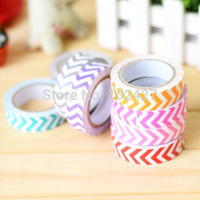 Wholesale roll Mixed Color Stripe Wave Washi DIY Tape Adhesive Scrapbooking Sticker for Students Child Drop Free