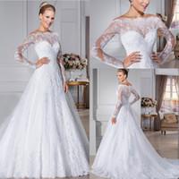 Wholesale 2016 Glamorous Button Back Lace Wedding Dresses Off the Shouder Sheer long Sleeves vestidos de novia robe de mariage Wedding gowns