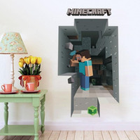 Wholesale Cartoon Minecraft Wall Stickers Party Decoration Steve is digging in the wall Wallpaper D Decorative Wall Decal Wallpaper Rolls Décor
