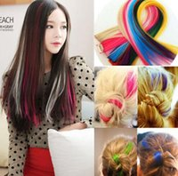 Wholesale New quot Straight Colored Colorful Clip in Clip On In Hair Extension synthetic hair random color hot sale