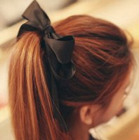 Wholesale Hair Band Girls Women Satin Ribbon Bow Rope Scrunchie Ponytail Holder Elastic
