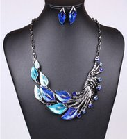 beautiful lily - Fashion Women Jewelry Beautiful Enamel Calla lily flower Peacock Feather Shape necklace and earring sets