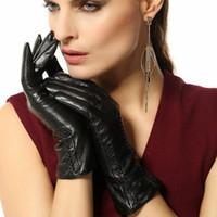 leather gloves - Time limited Women Genuine Leather Gloves Short Wrist Sheepskin Glove Female Brand Goatskin Driving L029nc