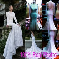 best photo images - Berta Best Selling Lace Backless Mermaid Wedding Dresses Long Sleeve Gorgeous Real Image Garden Bridal Party Gowns Custom Top Quality