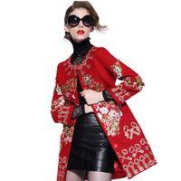designer coats - TOP FASHION New Autumn Winter Runway Designer Coat Women s Key Embroidery Woolen Plus Size XL Long Overcoats