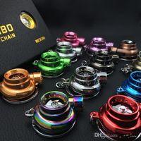 Wholesale 2015 New fashion LED Flashlight Turbo Keychain Spinning Turbo Turbine Turbocharger Keychain Key Chain Ring Keyring Keyfob Keyrings