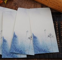 art envelopes - 215 MM Vintage Japan style Ink Lotus Series DIY Multifunction Art envelope Postcard bag Gift envelopes Whalesale dandys
