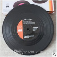 Wholesale 500set CCA2557 set New Arrival Home Table Cup Mat Creative Decor Coffee Drink Placemat Spinning Retro Vinyl CD Record Drinks Coasters