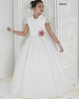 aire vest - 2015 Cheap Flower Girls Dresses Princess Organza Hand Made Flower Communion Dress Girl Pageant Gowns Short Sleeve Aire DIGNA with Jacket