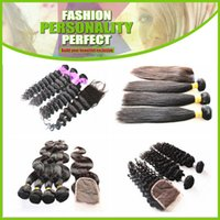 Wholesale 6A Brazilian Malaysian Indian Peruvian Mongolian Virgin Hair Weave Buy Hair Get One Free Lace CLosure Unprocessed Human Hair Extension