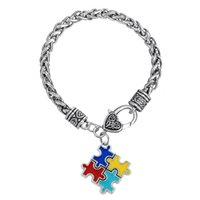 antique puzzle - 10pcs Zinc Alloy Antique Silver Plated Enameled Puzzle Piece infantile autism Pendant Link Chain Bodybuilding Bracelets