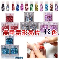 Wholesale 1Bottle Mixed Multicolor Sexy Paillette Rhombus Nail Art Decoration With Color Design Nails Tips UV Gel Nail Tools