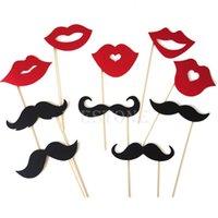 Envío Gratis 10PCS Nueva DIY Máscaras Photo Booth Atrezzo bigote en una fiesta de cumpleaños de la boda del palillo de la orden $ 18Nadie pista