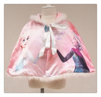 Wholesale 2016 Time limited Poncho No Brand Girl New Fashion Cotton Cartoon Print Princesses Girls Winter for Frozencoat Warm Clothes