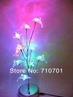 Cheap Wholesale-Free shipping Romantic color changing LED Tree with 9 crystal dolphin~DIY LED USB night lamp