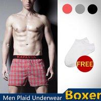rubber pants - 2015 New Men Casual Underwear Cueca Cotton Plaid Boxer Shorts Rubber Underpants Home Loose Pants Swimwear swim shorts