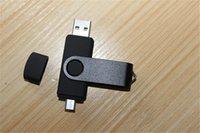 DHL expresa 50 pedazos 8GB USB 2.0 OTG impulsión del flash del USB giratorio Pendrive para SmartPhone que gira para la PC de la tableta en color negro