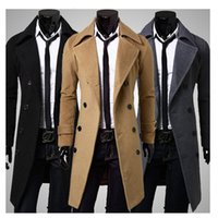 Wholesale 2015 New Fashion Double breasted Winter Men Trench Coats Long Slim Fashion Styish Woolen Men Trench for Colors Choose