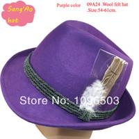 alpine wear - OEM Purple wool felt dress hat girls homburg alpine lana formal hat Popular100wool felt wear as festival hat baravois