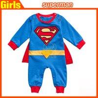 Niños nuevo estilo mameluco infantil del mono del bebé del niño del bolso de glúteos Suba Ropa Super Man mamelucos ropa ropa de los niños de dibujos animados