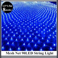 1.5 * 1.5m 96 Led 8 modes de flash 220V EU plug Multicolore filet lumière de la chaîne Noël Nouvel An Décoration Outdoor Holiday Light