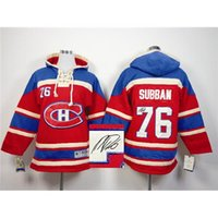 Wholesale Top Autographed Hockey Hoodies Canadiens Subban Red Hockey Sweater Lace Up Hooded Sweatshirt Winter Ice Hockey Outwear Men Jackets