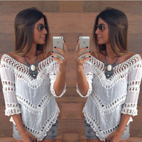 Wholesale Hot Fashion Summer Bohemia Lace Women Blouse Half Sleeve V Neck Sexy Short Shirts Women Tops Beach Bikini Cover Up