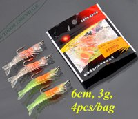 fishing hooks wholesale - Promotion Fishing Soft Shrimp with Hook Simulation Giant Prawn for Sea Fishing Freshwater Night Light cm g bag Cheap
