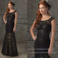 beauty stones - Black Beauty Formal Mermaid Lace Mother Of The Bride Dresses Stones Cap Sleeve Evening Gown M1386