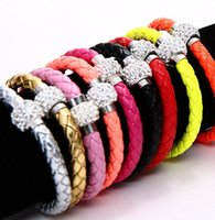 Wholesale New colors MIC Shambhala Weave Leather Czech Crystal Rhinestone Cuff Clay Magnetic Clasp Bracelets Bangle size length cm cm cm