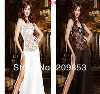 queen size sexy lingerie - w1031 Sexy Lingerie White Black Backless Transparent Dress G String Long Sleepwear Nightclub Queen Dress Free SIze Underwear Uniform