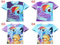 Wholesale 2015 My Little Pony Tshirts Baby Boys Girls Fashion Summer Short Sleeve Cartoon Cotton Tshirts Tops Shirts Kids clothes Children clothes