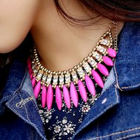 jewellery - Occident Style Bib Necklace Chain Choker Turquoise Crystal Pendant Necklaces Bohemian Exquisite Tassel Jewelry womens jewellery J0029