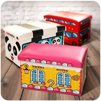 baby shoe storage - Children baby cartoon toy folding stool rectangle can sit shoes shoes stool stool storage box