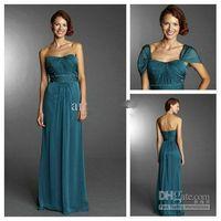 aquamarine beads - Custom Made Aquamarine Strapless Detachable Cap Sleeve Beaded Pleats Floor LengthProm Evening Party Gowns Formal Dress Bridesma