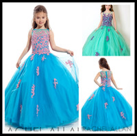 Wholesale Gorgeous Little Girl s Pageant Dresses Bule With Crystal Applique Ball Gown Kids Prom Dress Floor Length Tulle Wedding Party Gowns