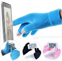 Wholesale 2015 New Fashion Autumn Winter Soft Unisex Pure color Touch Screen Gloves Texting Capacitive Smartphone Knit Refers to all