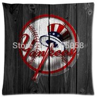 baseball squares - Fashion American MLB New York Yankees baseball team logo Zippered Square Pillowcase Size x18 inch Two Sides