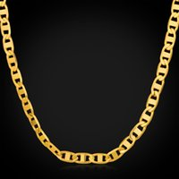 Chains asian fashion accessories - U7 Figaro Chain Necklace Bracelet Men Jewelry K Real Gold Plated Fashion Accessories Men Necklaces Bracelets Party Gift