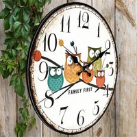 antique yellow owl - 2015 Modern Design Owl Vintage Rustic Shabby Chic Home Office Cafe Decoration Art Large Wall Clock