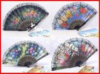 Hand Fans fabric polyester - 100pcs New Style Ballet Dancing Fan Polyester Fabric Printed Flowers Pattern Fan Bronzing Pattern Plastic Fan Lace Fan