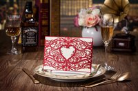 Cheap CW5107 red hollow out heart Invitation card Wedding Invitations come envelopes sealed card