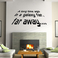 Wholesale Self Adhesive Wall Time - A long Time Ago, in a Galaxy Far Far Away Star Wars Wall Decals Stickers Lettering Wallpaper Murals Decor