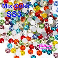 Wholesale ss3 mm Mixed Colors Flat Back Nail Art Glue On Non Hotfix Rhinestones B0700