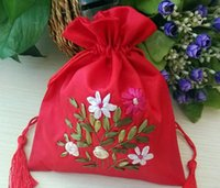 bead embroidered jewelry - Free Ship Handmade High quality cm cm Embroider Brocade Brocart Bag Jewelry Bags Candy Beads Bags Wedding Party Gift Bags