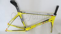 Wholesale 2014 De Rosa Superking carbon frame Yellow full carbon fiber Road Racing bike frames bicycle frames BSA BB68 sizes
