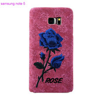 art leather phone covers - Fashion Embroidery Rose Leather Phone Case for samsung note Stitchwork Art Silk Shell Cover Free DHL Factory Direct