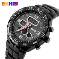watch led - Skmei Men Fashion Casual Vintage Wrist watches LED Digital Quartz Stainless Steel Band Multifunction Waterproof Military Watch